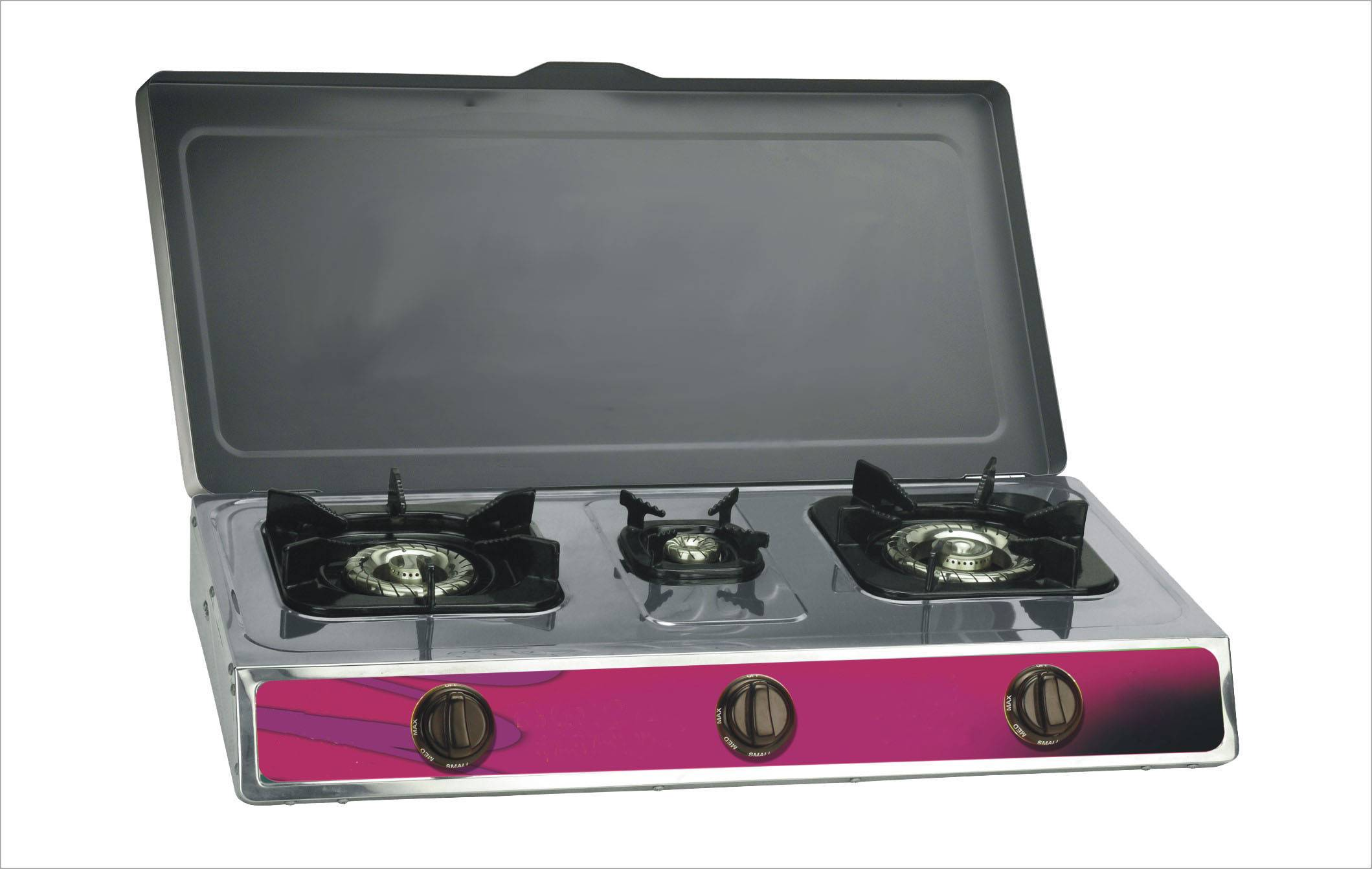 Stainless steel gas stove cooktops three burner with cover