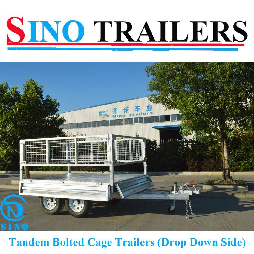 Drop Down Side Heavy Duty Box Cage Tandem Trailers