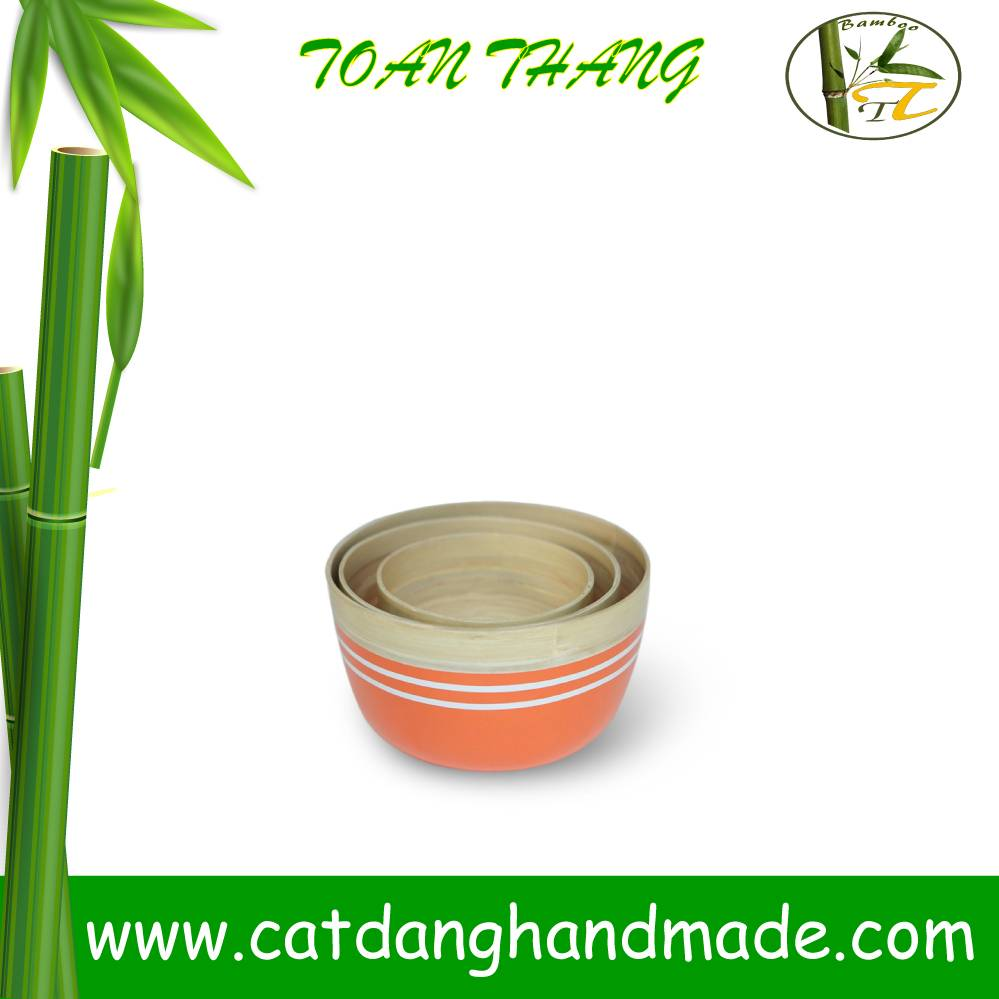 High quality best selling Spun Bamboo Bowl, set of 3 bamboo fiber bowl