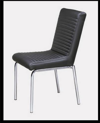 B-D-12,the latest black comfortable dining chair (synthetic leather,chromed tubes,high dense foam)