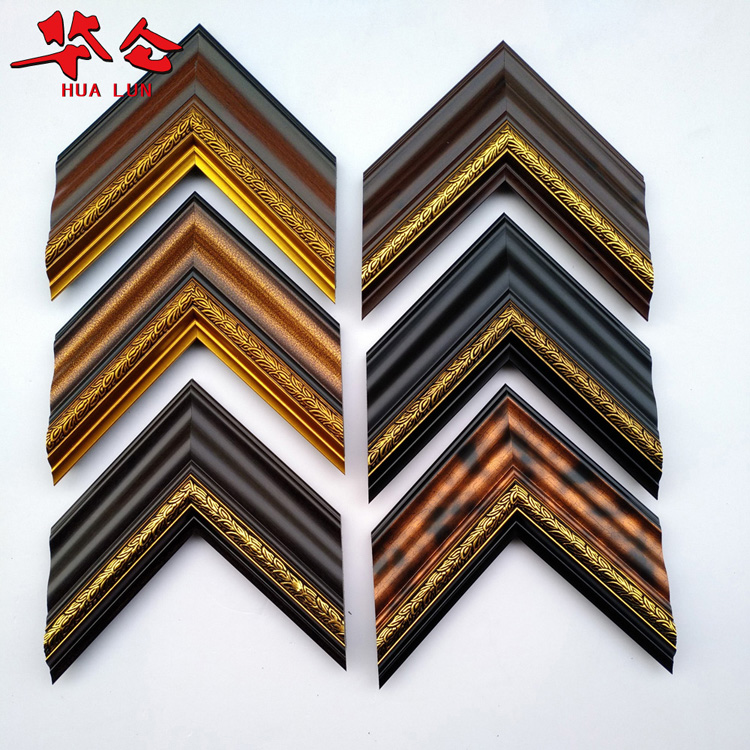 Guangdong Hualun Guanse green wood J08511 series decorative PS moulding for photo frame