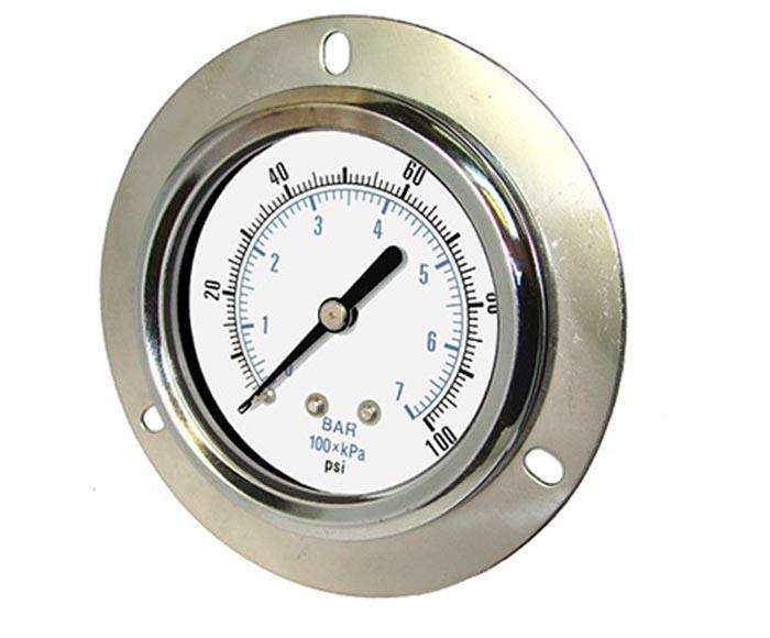 pressure gauge-Chrome case and bezel, back connection with front flange