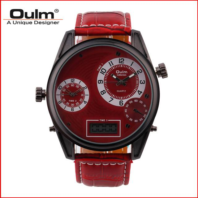 HP3581 oulm brand quartz watch with leather belt