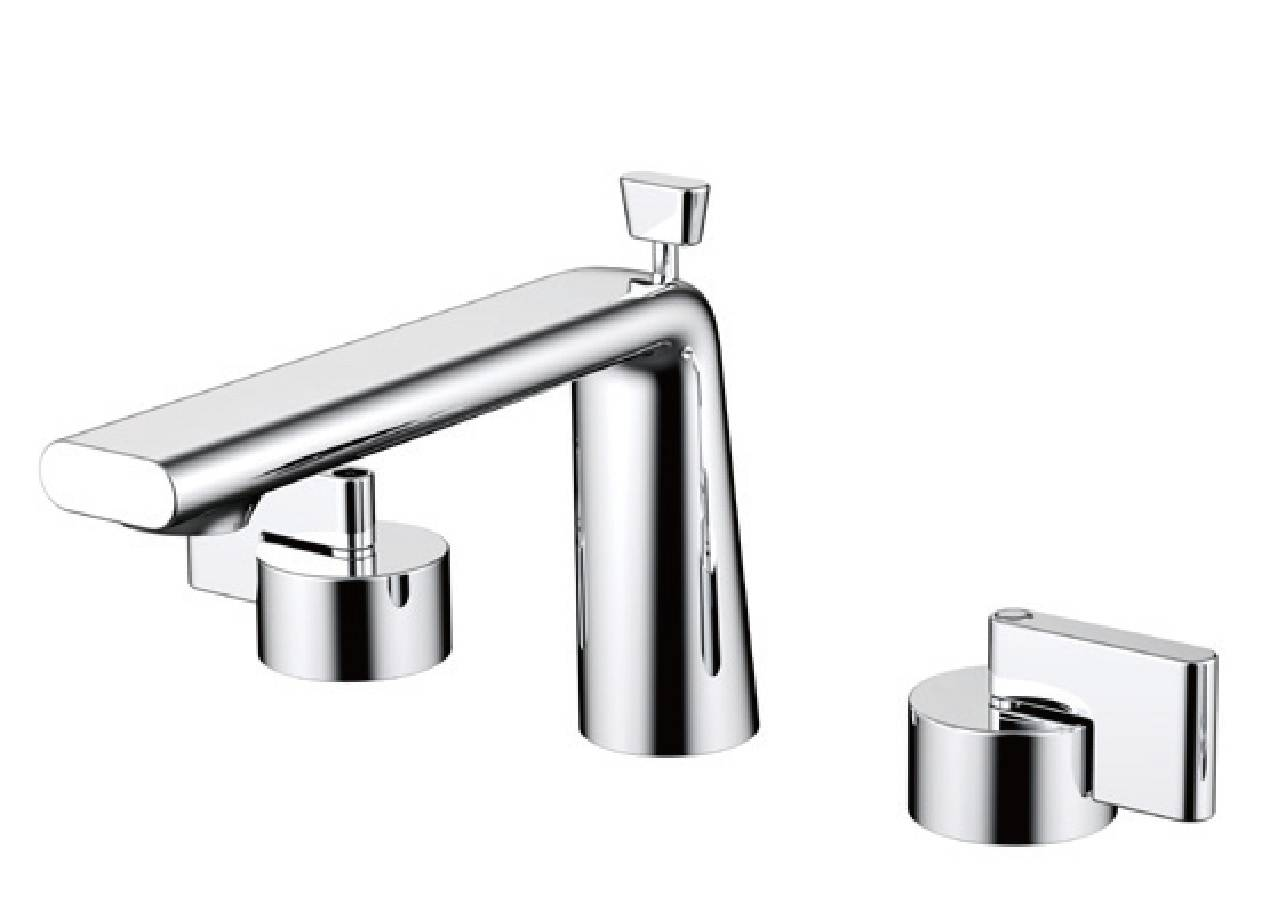 New design chrome brass deck mounted bathroom basin mixer tap