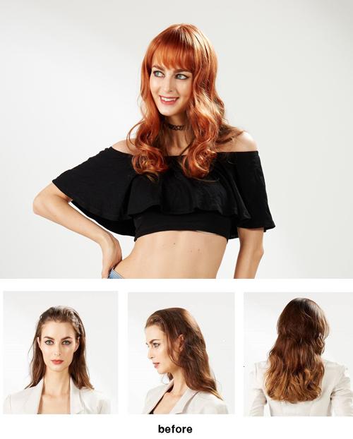 EYESHA Color fusion fashion wig 805A (Orange mix - natural wave style)