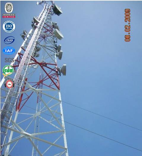 Three legged angle steel GSM lattice communication tower