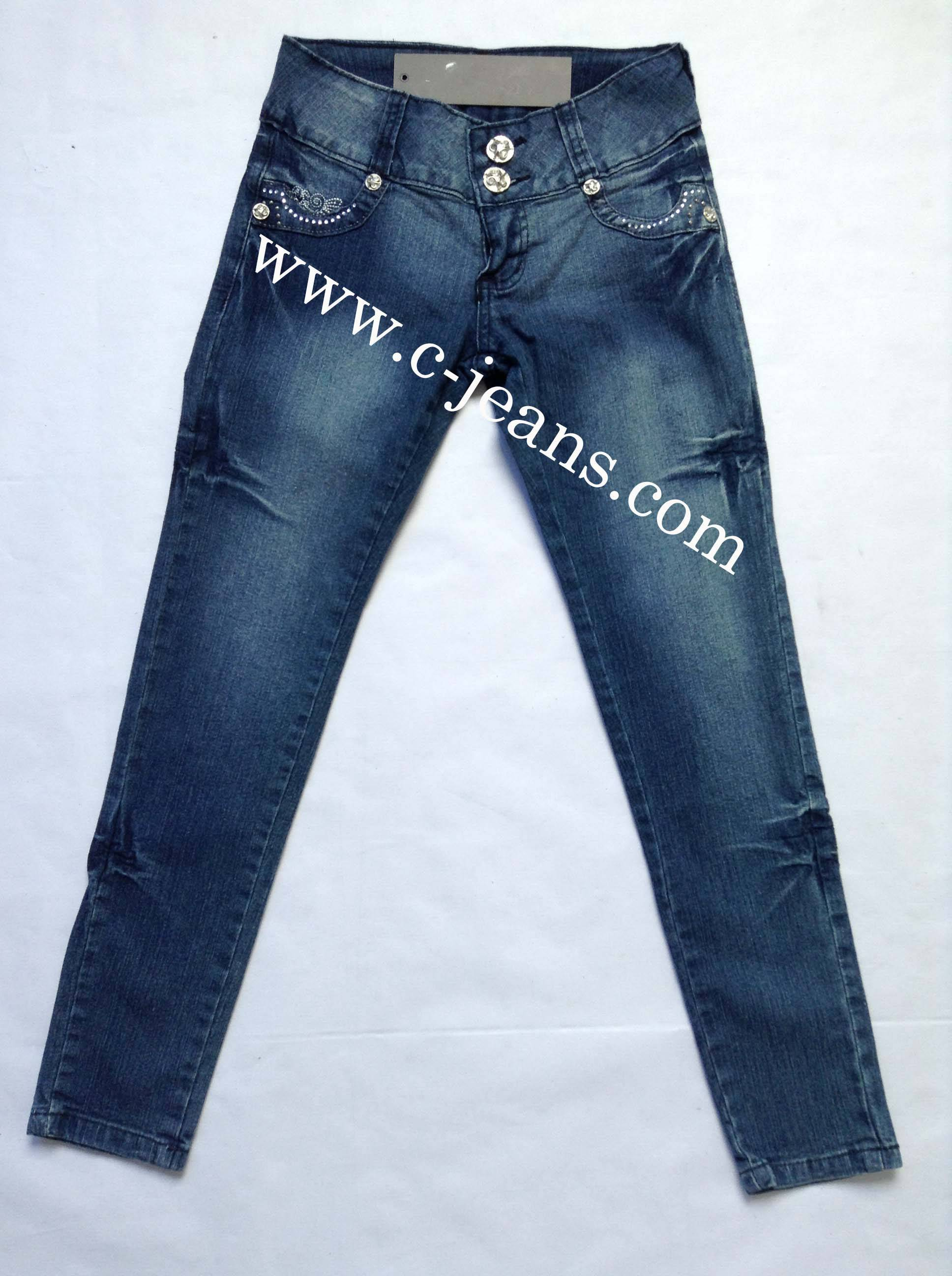 Lady's Jeans with Whiskers and Sandblast. 2014 Latest Design Skinny Lady Jeans, Fashion Branded Woma