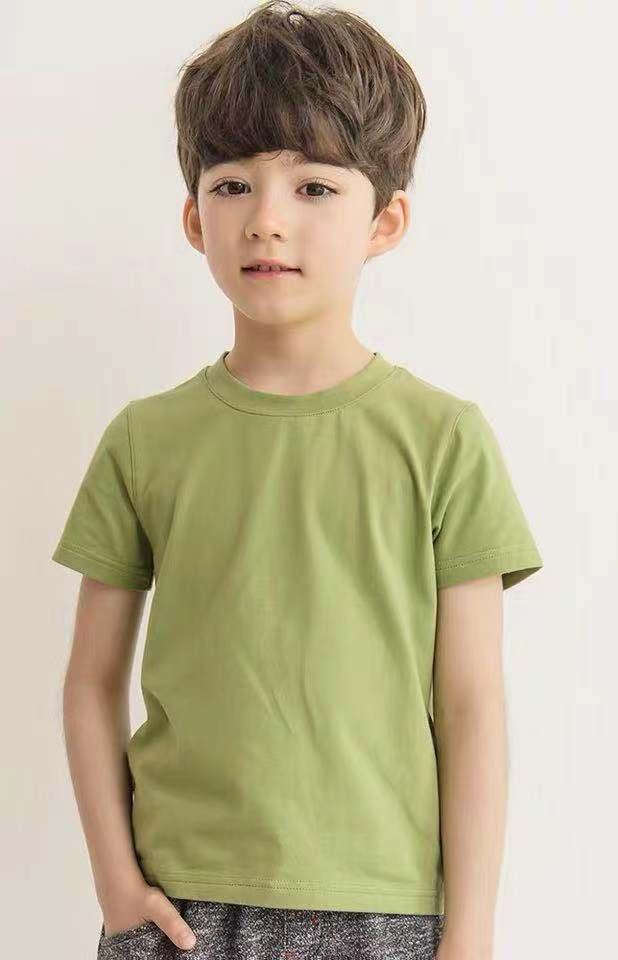 Children's wear boy T shirt short sleeve 2021 summer new CUHK boy western pure color bottom shirt