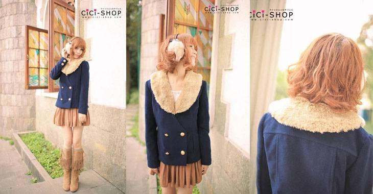 Institute of imitation rabbit fur collar jacket(jjfashion)    Products ID: 001E-80985#