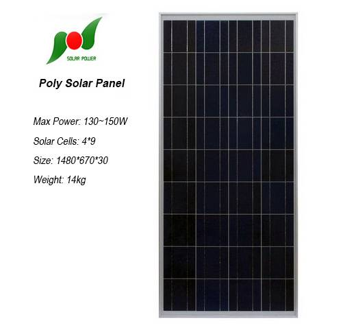 2015 hot sale solar panel 130W 18V with certification