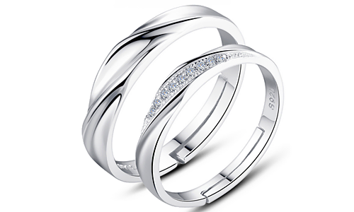 Cubic Zircon Wedding Sterling Sliver Couple Rings