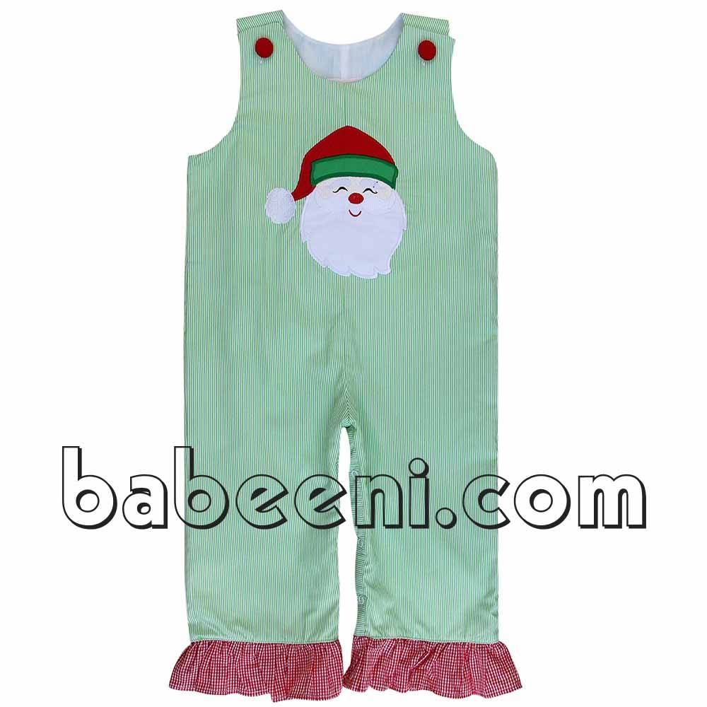 Pretty Santa Claus applique girl longall - DR 2161