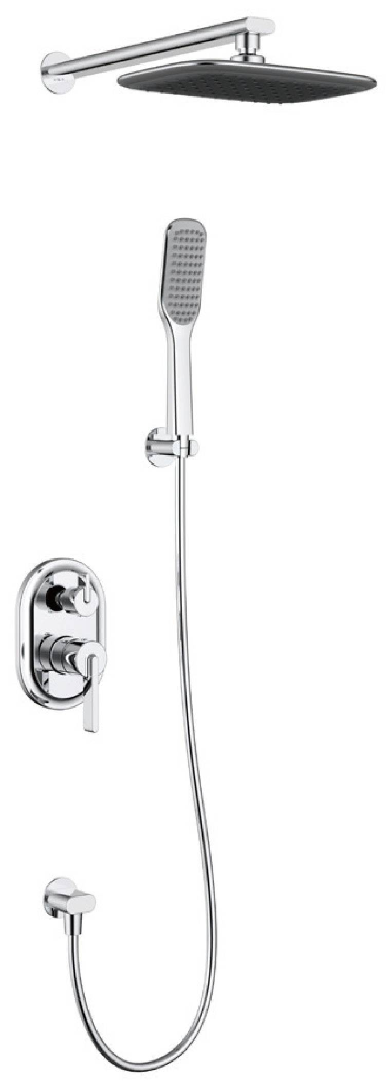 Modern chrome brass wall mounted bathroom concealed shower faucet