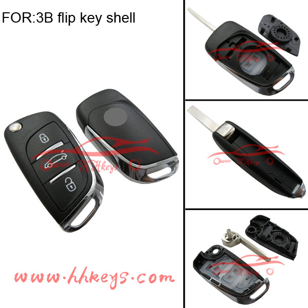 Citroen 3 Button Flip Key 307 Blade