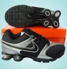 Black/Silver Man Nike Shox R4 Black Logo Mesh & Leather Sport Shoes