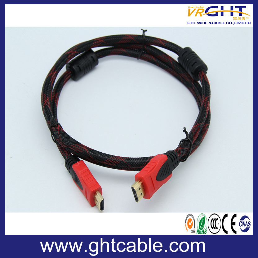 High Quality HDMI Cable 24k Gold Plated with Nylon Braiding 1.4V (D002)