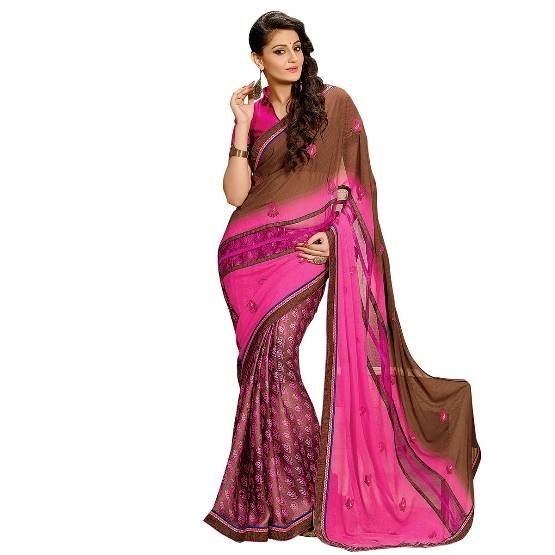 Shonaya Pink & Brown Colour Georgette Embroidered Sarees With Blouse PieceSGDN2-4858