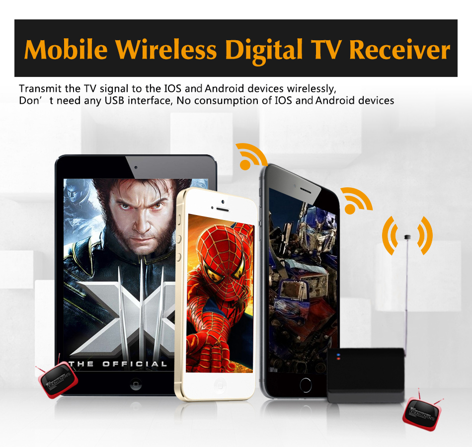 DVB-T2&DVB-T HD Digital TV Mobile Receiver, Support Android and Ios Devices, Watch Live TV anytime