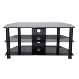 black silk-screen tempered tv stand
