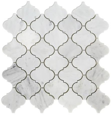Carrara marble lantern backsplash arabesque tile