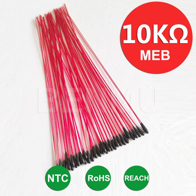 MEB 10K 1% 3950 L120mm insulated leads Epoxy resin encapsulation NTC Thermistor of temperature minia