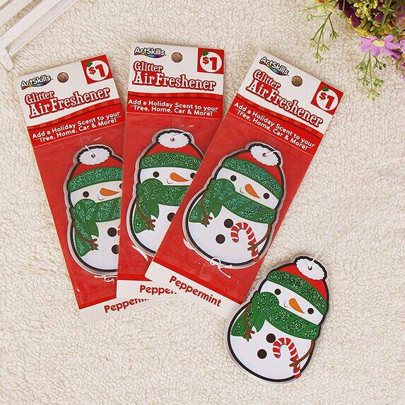 Customized Snowman Shaped Glitter Paper Car Air Freshener for Christmas Day Gift Promotion