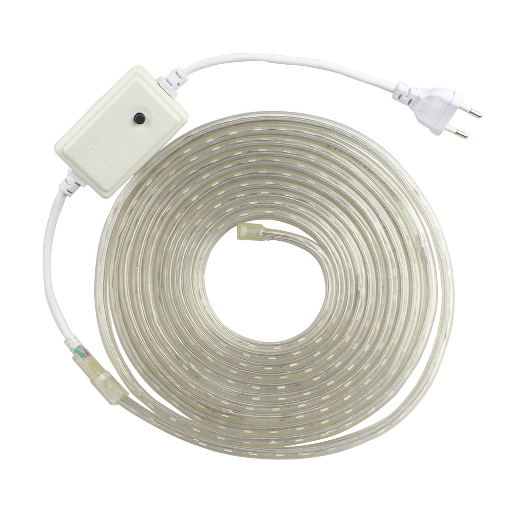 RGB SMD 5050 AC220V LED Strip Flexible Light IP67 Waterproof 60leds/m Led Tape With Power Plug