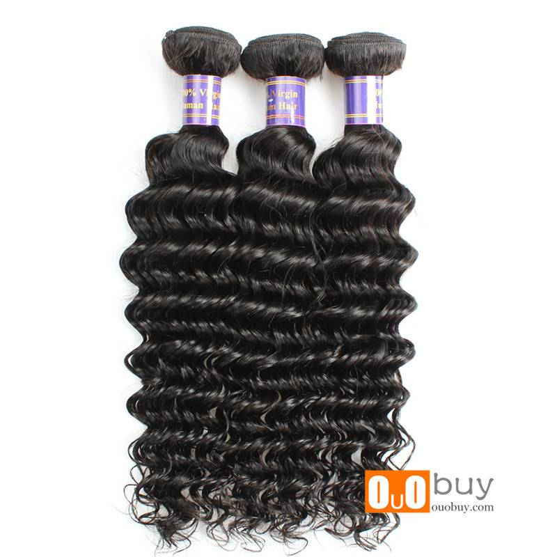 100% Human Hair and Hair Extension 8-28inches Virgin Peruvian Deep Wave Hair Weaving