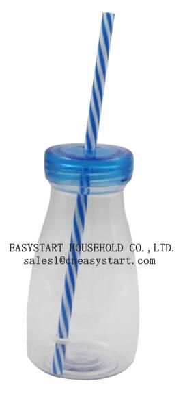 New PS/TRITAN milk bottle with straw,Plastic milk bottle,color printing baby milk bottle