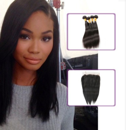 [8A]4 Bundles Brazilian Hair Weave Straight with 360 Lace frontal