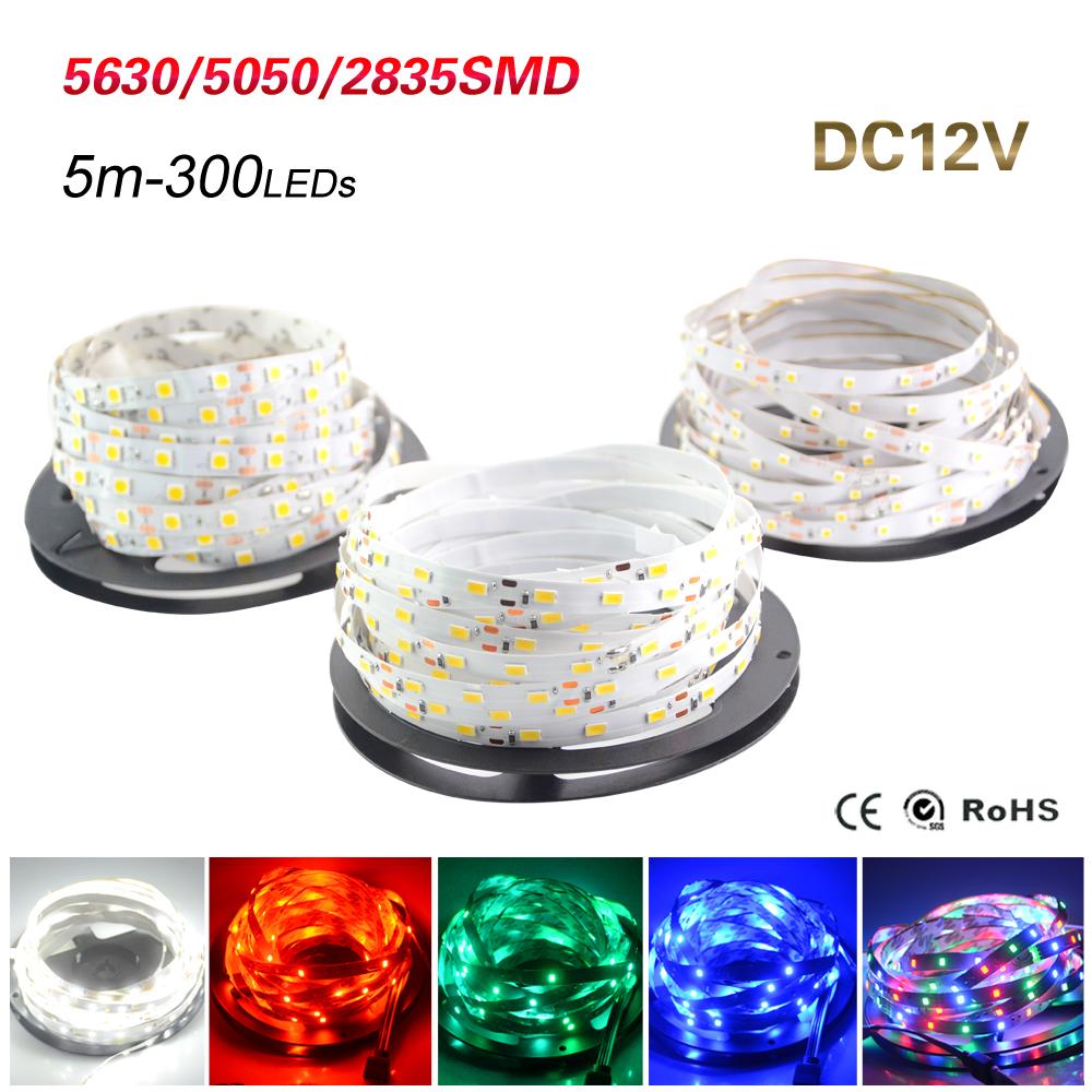 5M Led Strip IP20 SMD3528 5050 5630 300leds RGB LED Strip Ribbon Tape Light Warm Cool White Ceiling