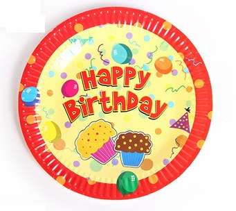 Birthday themed paper tray paper plates