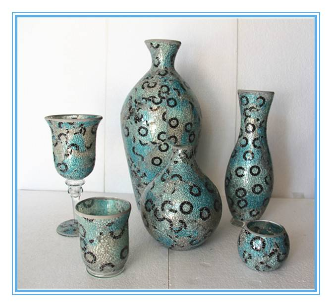 Hot sale new style decorative flower mosaic glass vases for florists