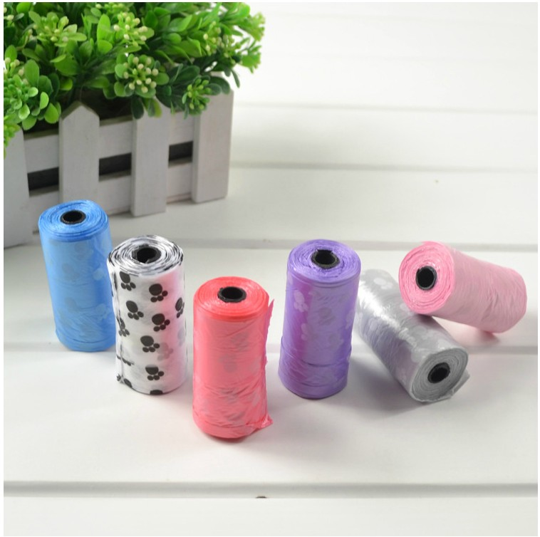 HDPE scented dog poop bags on rolls, dog waste bags