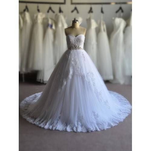 GLAMOROUS BALL GOWN SATIN&LACE TULLE BEADING SEQUINS RHINESTONES SWEETHEART CHAPEL TRAIN WEDDING DRE