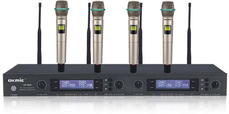 Professional UHF 4 channels Wireless Microphone Handheld Microphone OK-8004