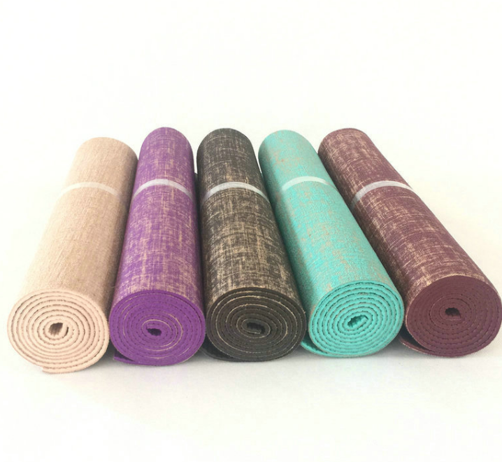 Flax PVC Yoga mat Non-slip Gym Mat OEM are available
