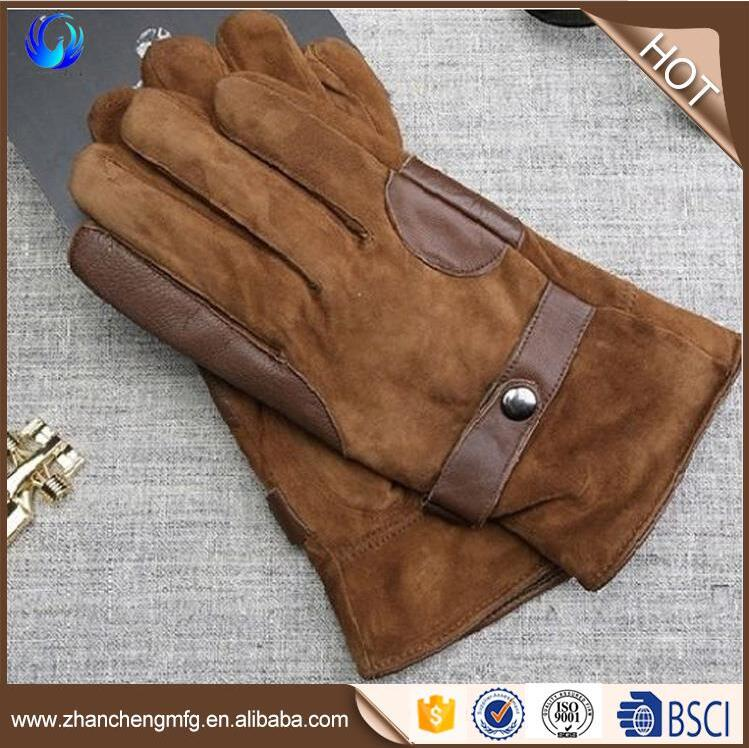 New design winter warm men's goatskin suede gloves touch screen with leather belt