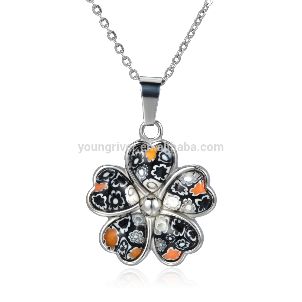 Charming Simple Design Flower Murano Series Pendant