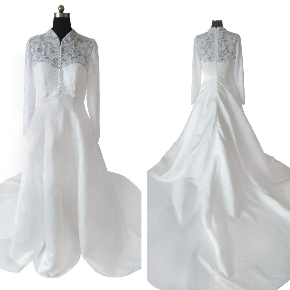 Ivory Wedding Dress High Neck with Big Train
