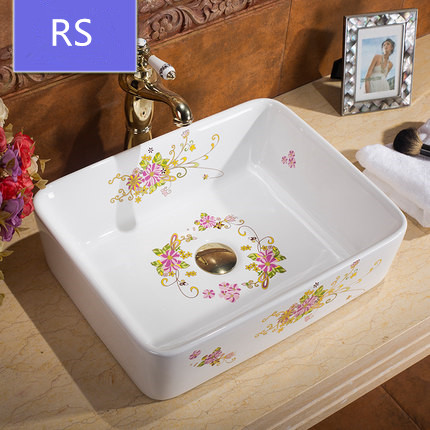 Hot sale ceramic bathroom flower colorful basin