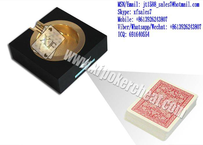 XF Black Plastic Ashtray Double Camera For Invisible Bar-Codes Marked Playing Cards/poker analyzer/p