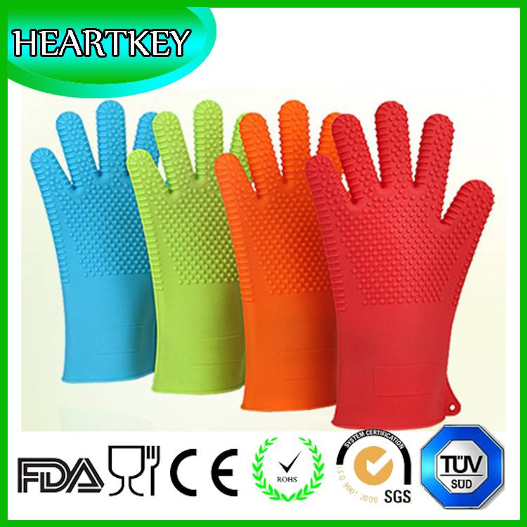 FDA Highest Rated Heat Resistant Five Fingered Grilling Oven Silicone BBQ Gloves