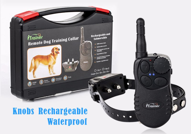 Hot selling in Amazon 550yard electronic remote training shock control anti bark collar for 2 dogs
