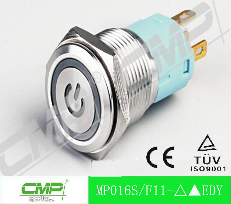 CMP 16mm waterpoof momentary or latched illuminated power symbol push button switch