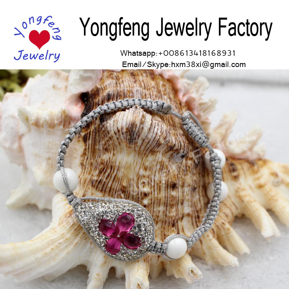 Wholesale handmade adjust gemstone knitted string bracelet