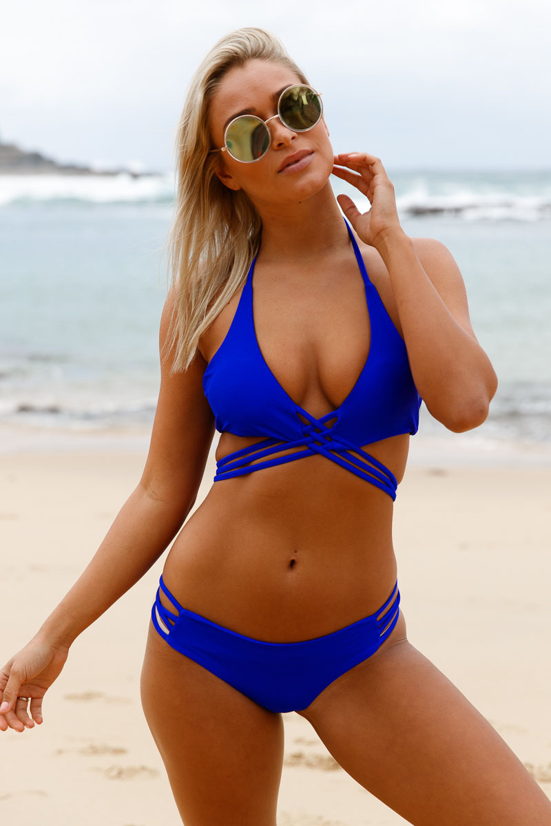 Joy-wear sexy Royal Blue Strappy Crisscross Sexy Two Piece Swimsuit