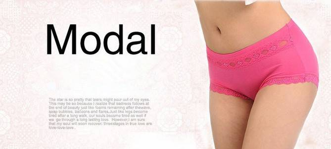 Hipster Modal Brief panties Specific colors with lace leg Underwear 5015#