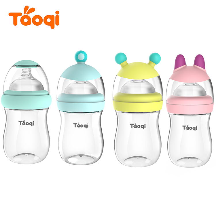 2018 6oz animal cap plastic transparent wide neck baby milk bottle BPA free PP baby feeding bottle
