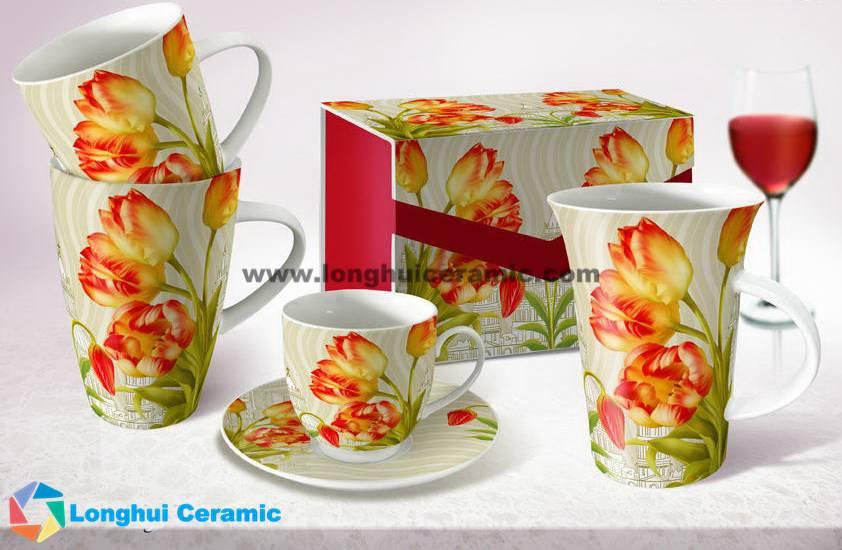 Flute ceramic tea cup - Tulips
